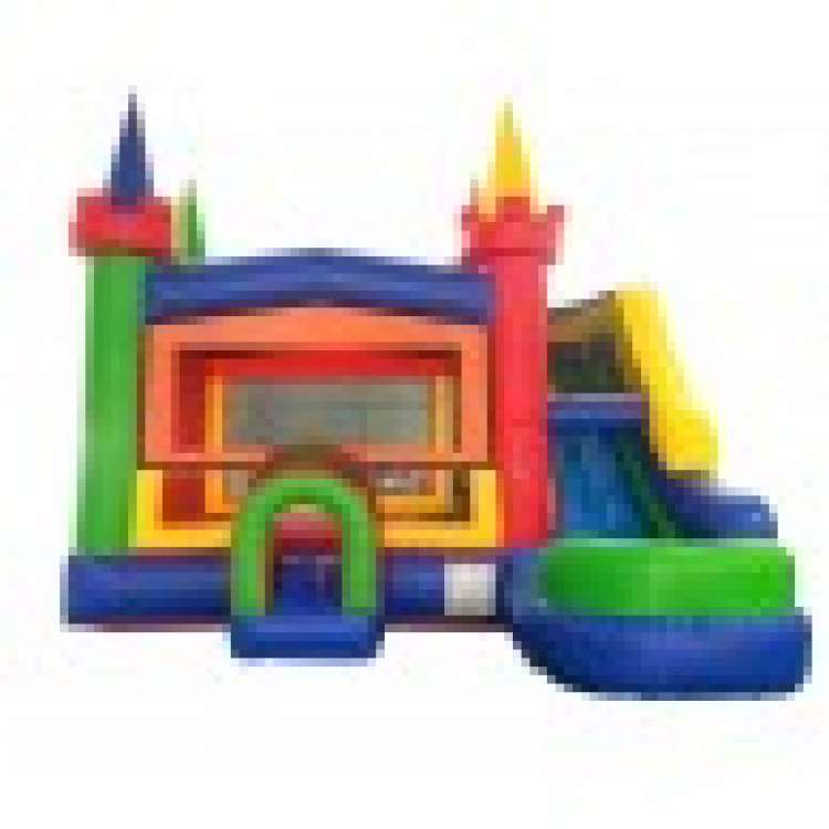Rainbow Castle Wet / Dry #2 Combo Bounce House and Slide