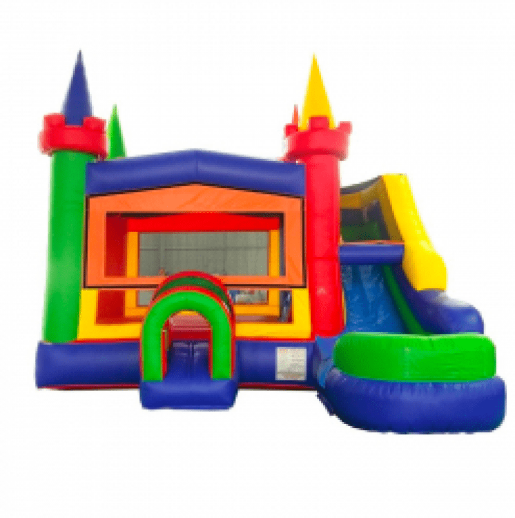 Rainbow Castle Wet / Dry #1 Bounce House and Slide
