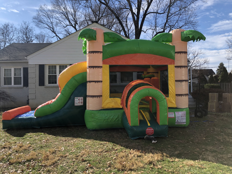 Tropical Combo Bounce House and Slide